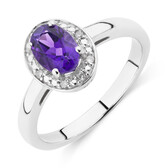 Halo Ring with Diamonds and Amethyst in Sterling Silver