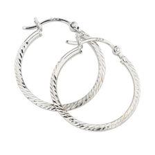 20mm Patterned Hoop Earrings in Sterling Silver