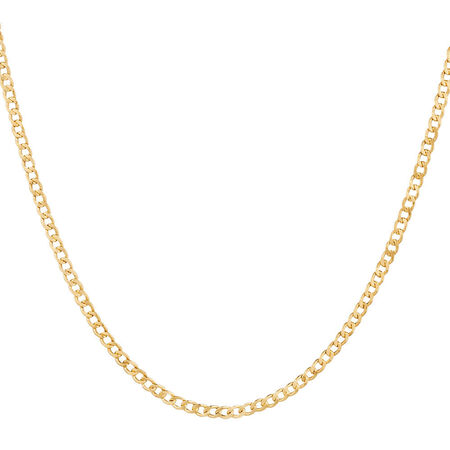 "45cm (18"") Hollow Curb Chain in 10kt Yellow Gold"