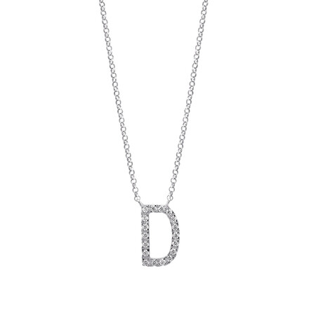 """""""D"""" Initial necklace with 0.10 Carat TW of Diamonds in 10kt White Gold"""