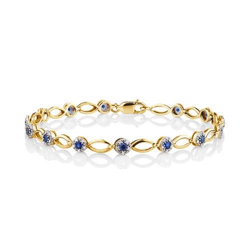 Bracelet with Created Sapphire & 0.25 Carat TW of Diamonds in 10kt Yellow Gold