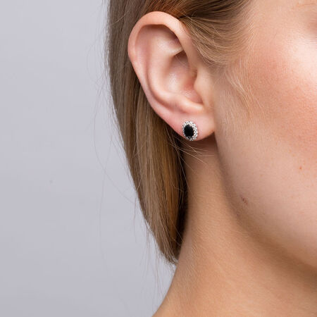 Stud Earrings with Sapphire & 1/5 Carat TW of Diamonds in 10kt Yellow & White Gold