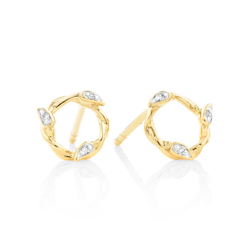 Willow Stud Earrings With Diamonds In 10kt Yellow Gold