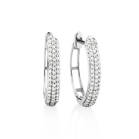 Oval Earrings with 0.20 Carat TW of Diamonds in 10kt White Gold