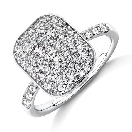 Pave Ring with 1 Carat TW of Diamonds in 14kt White Gold