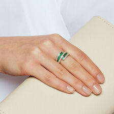 Ring with Emerald & 1/4 Carat TW of Diamonds in 10kt Yellow & White Gold