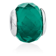 Online Exclusive - Smokey Green Faceted Glass Charm in Sterling Silver