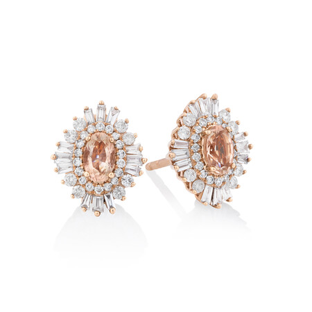Earrings with Morganite & 0.50 Carat TW Of Diamonds in 10kt Rose Gold