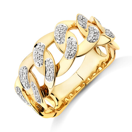 Link Ring with 0.33 Carat TW of Diamonds in 10kt Yellow Gold