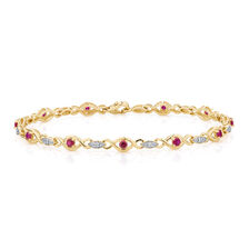 Bracelet with Created Ruby & Diamonds in 10kt Yellow & White Gold