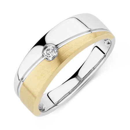 Ring with Diamonds in 10kt Yellow & White Gold