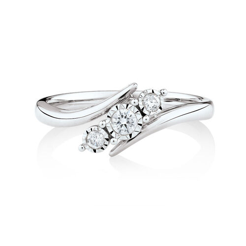 Three Stone Engagement Ring with 0.15 Carat TW of Diamonds in 10kt White Gold