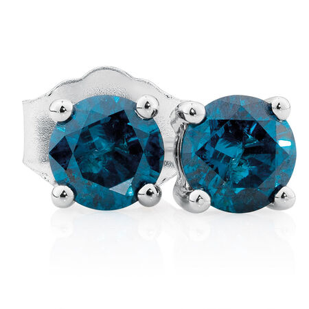 City Lights Stud Earrings with 0.46 Carat TW of Enhanced Blue Diamonds in 10kt White Gold