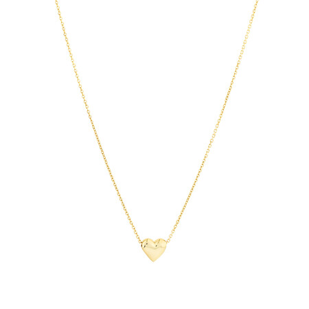 Heart Slider Necklace in 10kt Yellow Gold