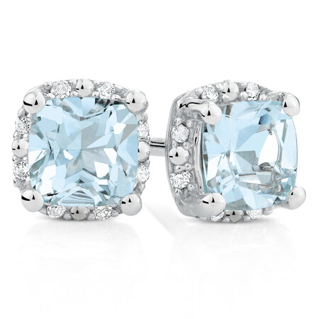 Stud Earrings with Aquamarine & Diamonds in 10kt White Gold