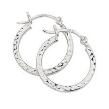 15mm Patterned Hoop Earrings in Sterling Silver