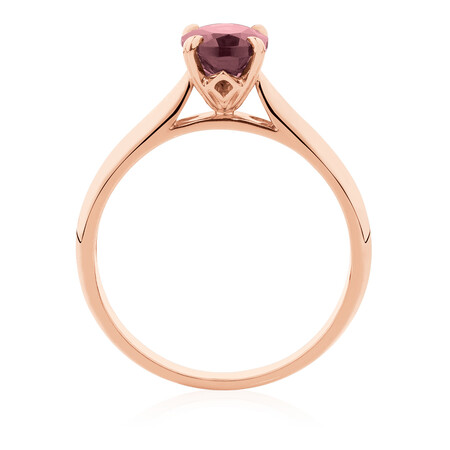 Oval Ring with Rhodalite Garnet in 10kt Rose Gold