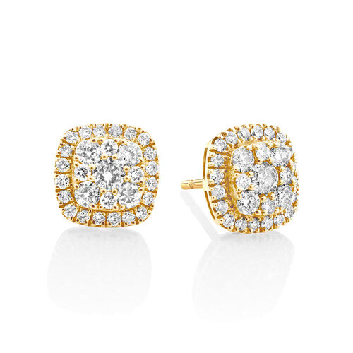 Cluster Stud Earrings with 1 Carat TW of Diamonds in 10kt Yellow Gold
