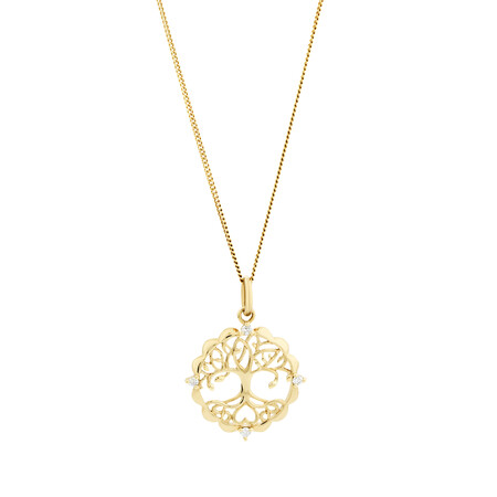 Tree of Life Talisman Pendant with Diamonds in 10kt Yellow Gold