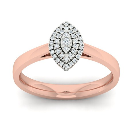 Cluster Ring with 0.15 Carat TW of Diamonds in 10kt Rose & White Gold