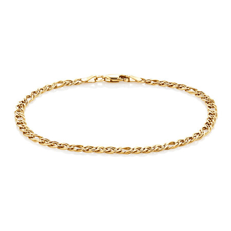 Double Oval Curb Bracelet in 10kt Yellow Gold
