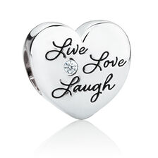 Live, Love, Laugh Heart Charm with Cubic Zirconia in Sterling Silver'