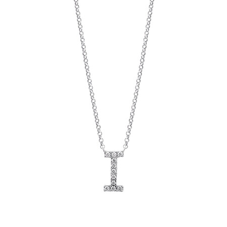 """""""I"""" Initial necklace with 0.10 Carat TW of Diamonds in 10kt White Gold"""