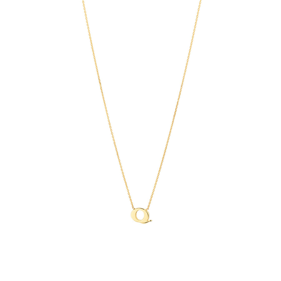 """Q"" Initial Necklace in 10kt Yellow Gold"