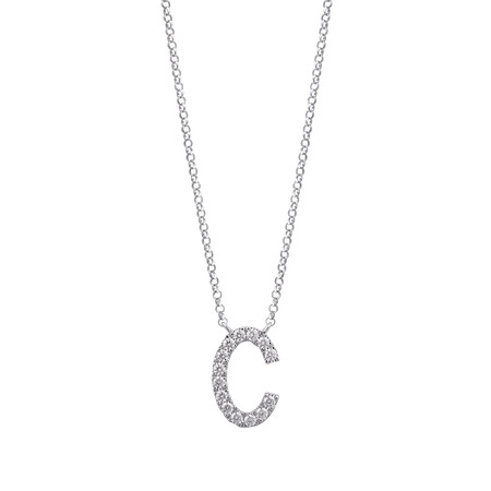 """""""C"""" Initial Necklace with 0.10 Carat TW of Diamonds in 10kt White Gold"""