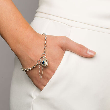 """19cm (7.5"""") Rolo Bracelet with Blue Cubic Zirconia in Sterling Silver"""