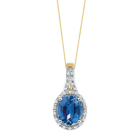Pendant with Created Sapphire & 1/6 Carat TW of Diamonds in 10kt Yellow & White Gold