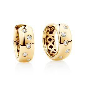 Hammer Set Hoop Earrings with Diamonds in 10kt Yellow Gold