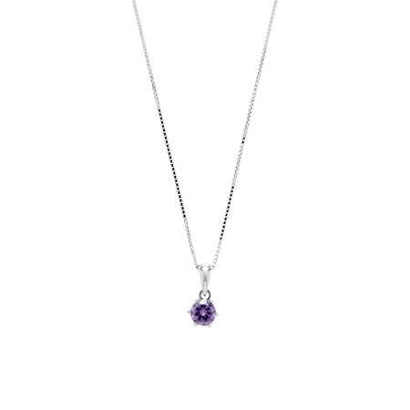 Circle Pendant with Purple Cubic Zirconia in Sterling Silver