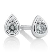 Pear Stud Earrings with Diamonds in Sterling Silver