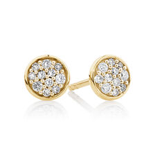 Pave Circle Stud Earrings with 0.14 Carat TW of Diamonds in 10kt Yellow Gold