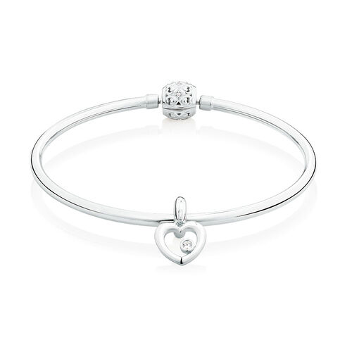 Starter Charm Bangle with Cubic Zirconia in Sterling Silver