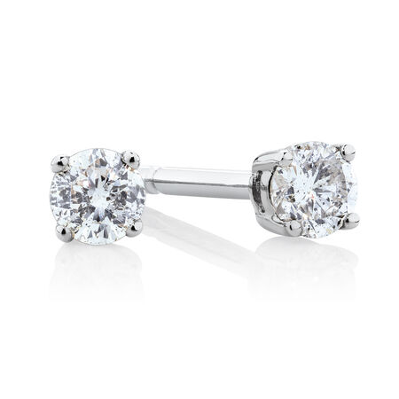 Stud Earrings with 0.15 Carat TW of Diamonds in 10kt White Gold