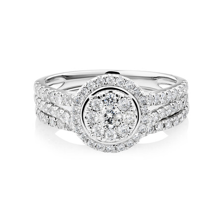 Bridal Set With 1 Carat of Diamonds In 10kt White Gold