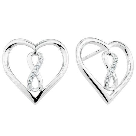 Infinitas Stud Earrings with Diamonds in Sterling Silver