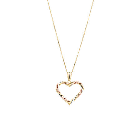 Heart Pendant in 10kt Yellow, White & Rose Gold