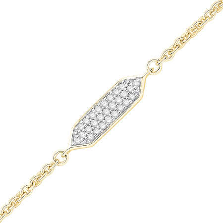 Bar Bracelet with Diamonds in 10kt Yellow Gold