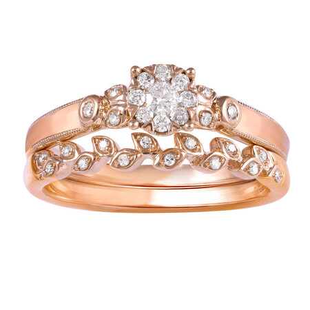 Bridal Set with 0.25 Carat TW of Diamonds in 10kt Rose Gold
