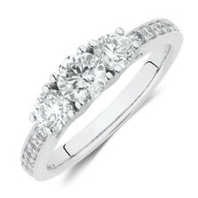 Three Stone Engagement Ring with 1 Carat TW of Diamonds in 14kt White Gold
