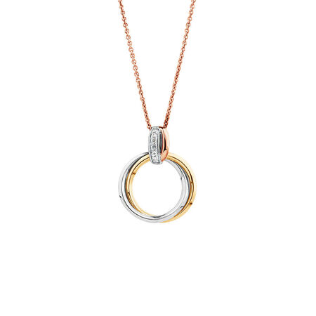 Tri-tone Circle Pendant with Diamonds in 10kt White, Yellow, and Rose Gold