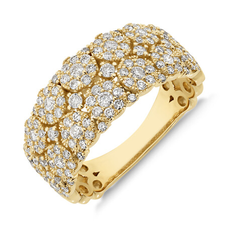 Two Row Ring with 0.90 Carat TW of Diamonds in 10kt Yellow Gold