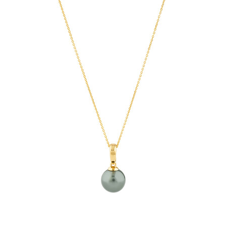 Pendant With Cultured Tahitian Pearl In 10kt Yellow Gold