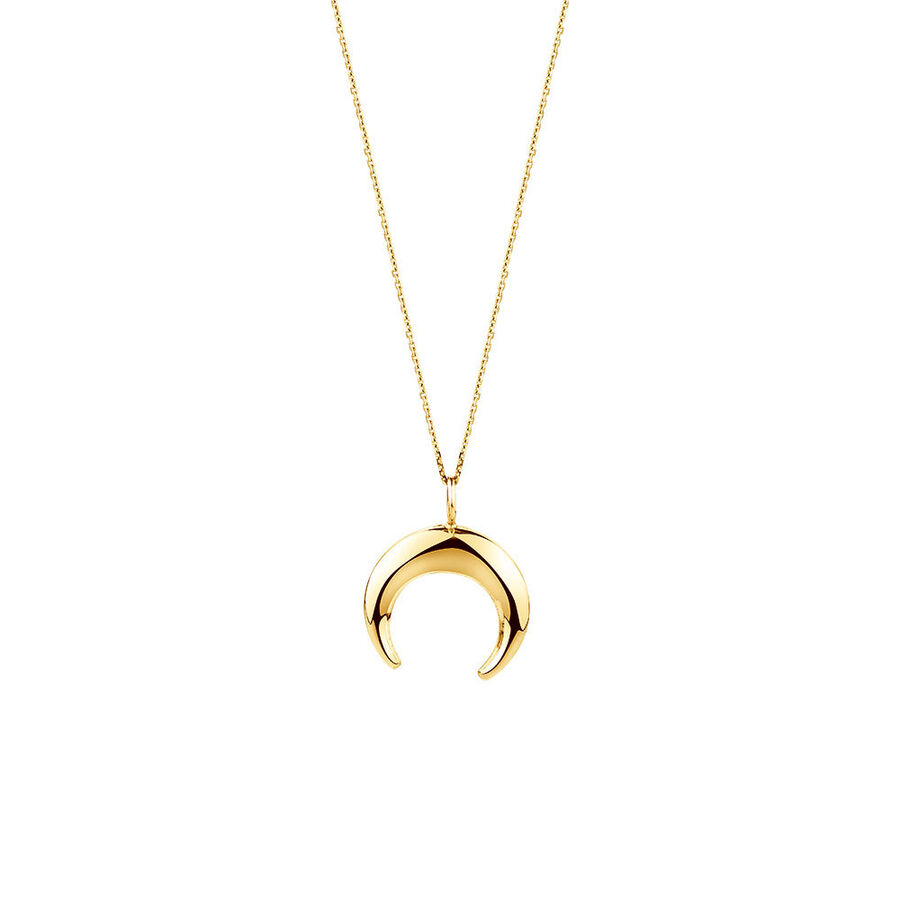 Crescent Pendant In 10kt Yellow Gold