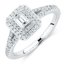 Sir Michael Hill Designer GrandArpeggio Engagement Ring with 0.87 Carat TW of Diamonds in 14kt White Gold
