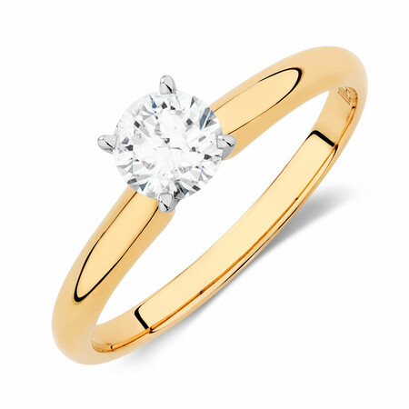 Solitaire Engagement Ring with 0.50 Carat TW Of Diamonds in 14kt Yellow & White Gold