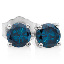 City Lights Stud Earrings with 0.96 Carat TW of Enhanced Blue Diamonds in 10kt White Gold